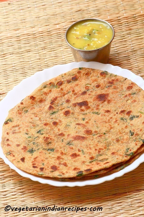 Methi Paratha Recipe - Punjabi Methi ki Roti - Fenugreek Leaves Paratha