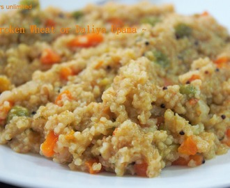 Daliya or Broken Wheat and Mixed Vegetable Spicy Upama