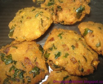 Keerai Vadai - Masala Keerai Vadai -Spinach Vada - Evening Snack Recipe - Lunch side dish Recipe