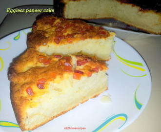 Eggless Paneer Cake with tutti frutti