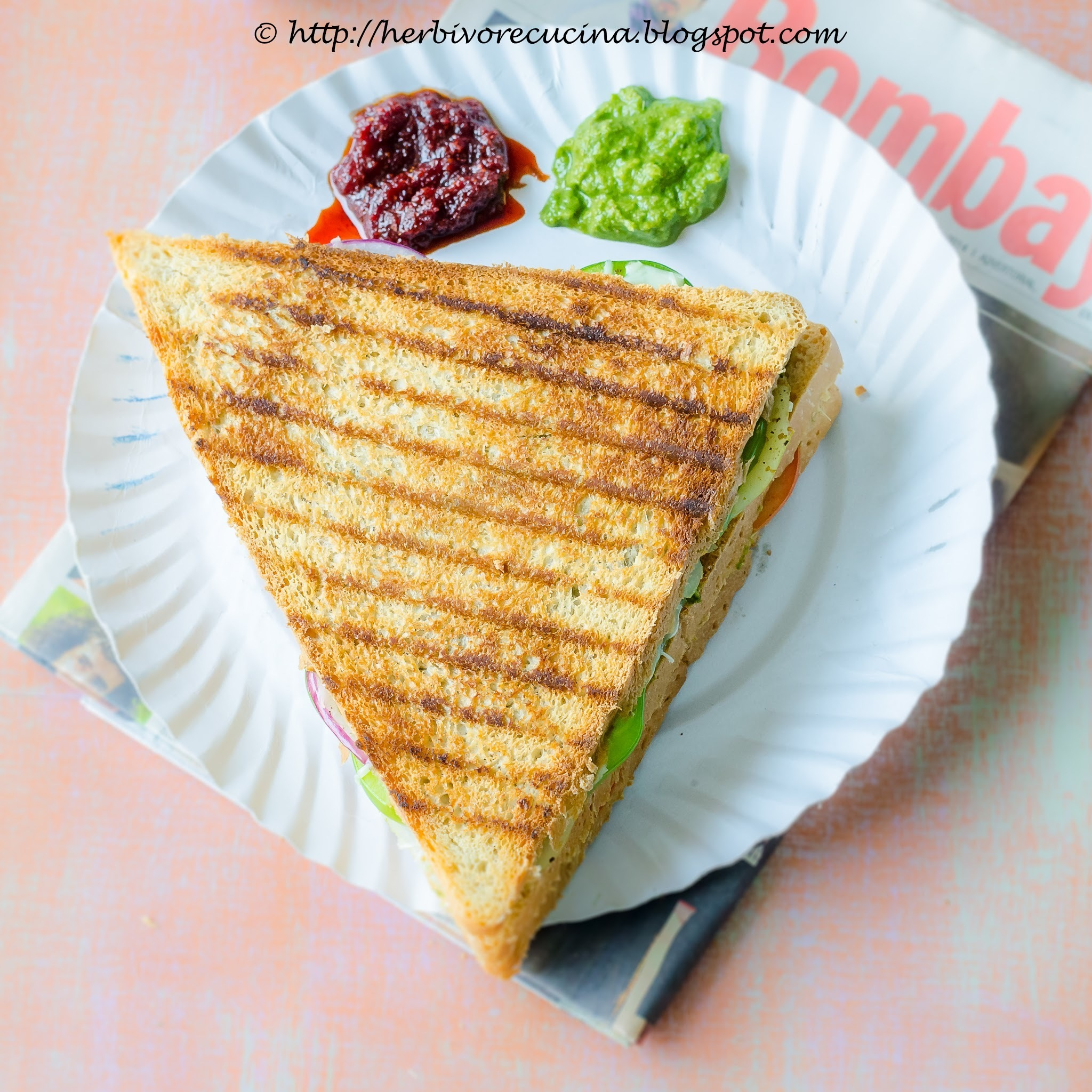 Vegetable and Cheese Grilled Sandwich