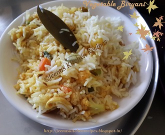 Vegetable Biryani for the occasion of jeenaskitchenrecipes.blogspot.in turning 1