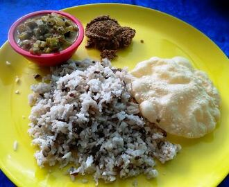 Black gram Rice with Lady's Finger Tangy Gravy and Sesame Chutney (Uluthamparuppu Sadham and Vendaikkai Pachadi)