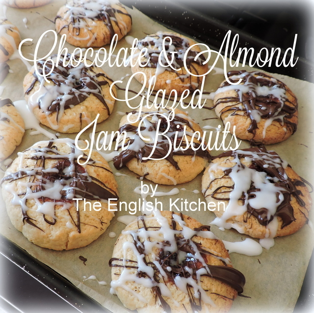 Chocolate & Almond Glazed Jam Biscuits (Cookies)