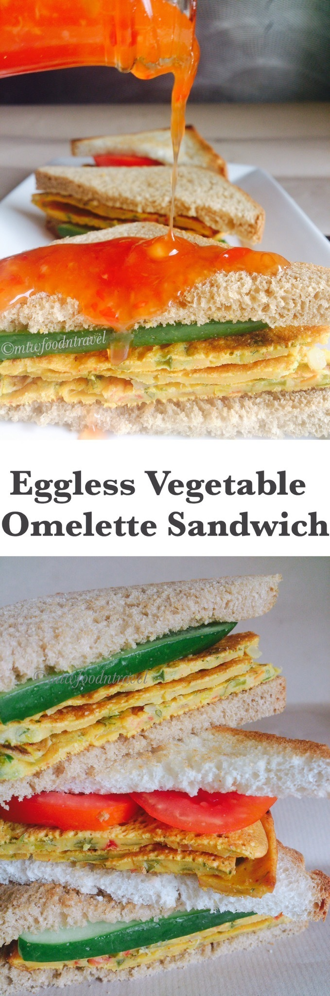 EGGLESS VEGETABLE OMELETTE SANDWICH - HEALTHY KICK START TO YOUR DAY