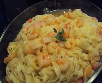 Massa fresca com camarões e um molho delicioso de whisky | Fresh Pasta with Prawns and a Delicious Whisky Sauce