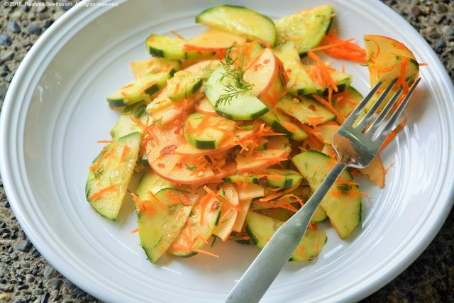 Cucumber apple salad with sweet and sour dressing