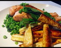 Roast Salmon on Mint-Peas and Honey-Parsnips