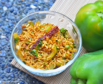 Green pepper and tamarind rice/ Capsicum bath