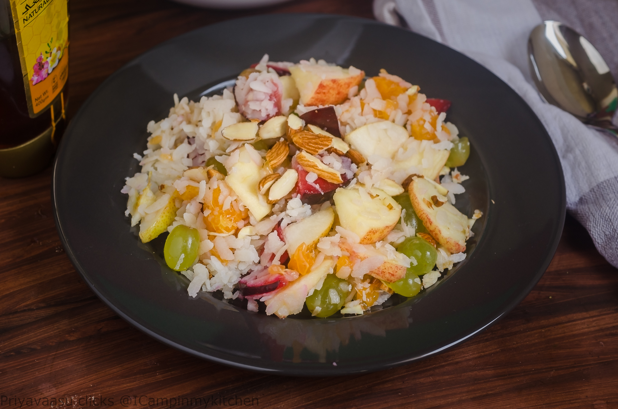Fruit Salad with Poha and almonds/ Fruit salad with Rice flakes and almonds