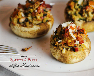 Cogumelos Recheados com Espinafres e Bacon | Spinach and Bacon stuffed Mushrooms