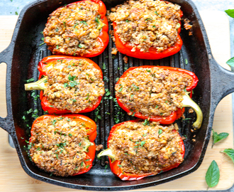 Moroccan Style Ground Chicken Stuffed Peppers