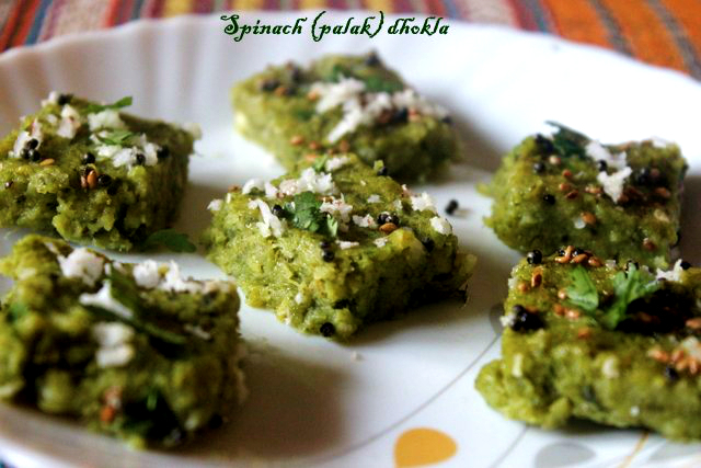 Spinach (palak) dhokla recipe – Spinach with arhar (toor) dal dhoklas