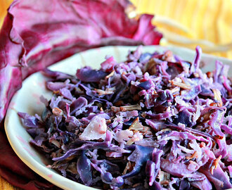 Red Cabbage And  Banana Flower ( Vazhaipoo ) Poriyal ( Stir Fry )