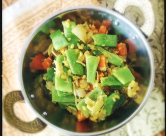Green Bean and Carrot Poriyal with Mung Dal and Coconut