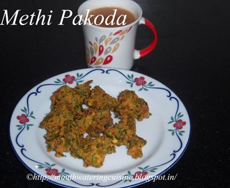 Methi Pakoda Recipe -- How to make Methi Pakoda Recipe -- Fenugreek Leaves Dumplings