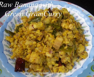 Raw Banana with Green Gram Curry -- Arati Kaya Pesara Pappu Kura -- How to make Raw Banana Curry