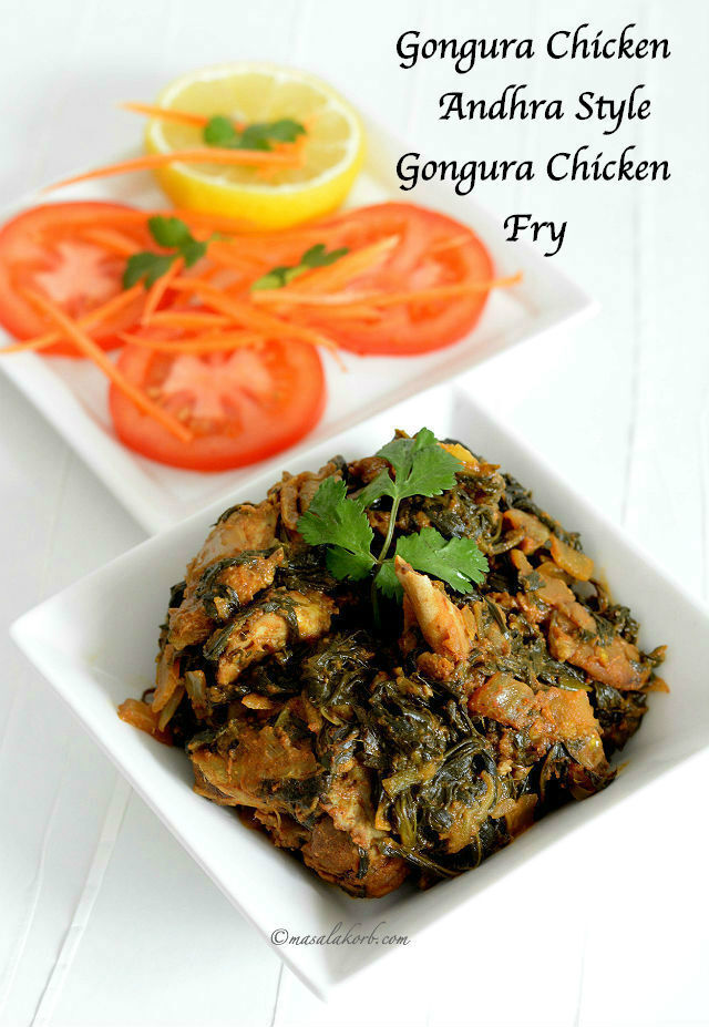 Gongura Chicken Andhra Style | Gongura Chicken Fry Recipe | How to make Gongura Chicken | Chicken Cooked in Sorrel leaves