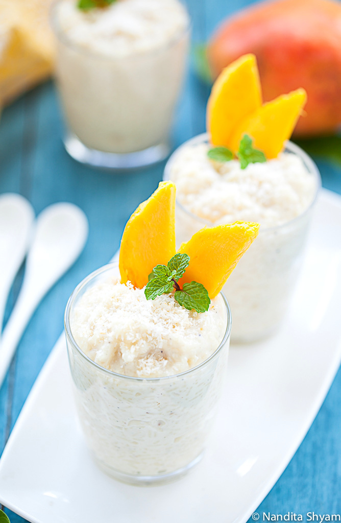 Rice and coconut pudding with Mango