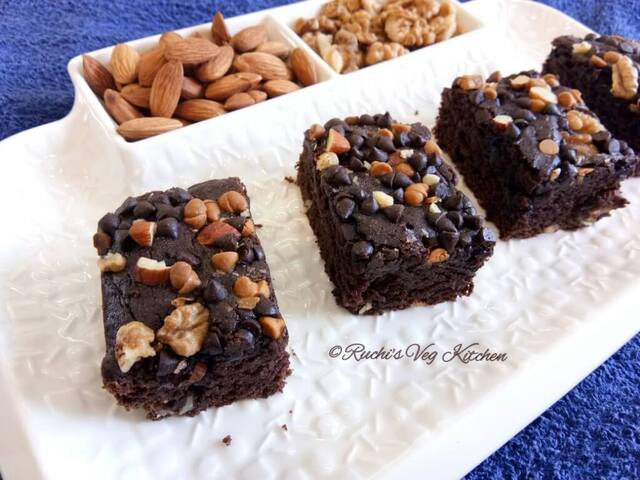 EGGLESS WHEAT DOUBLE CHOCOLATE BROWNIE  (In Pressure Cooker )