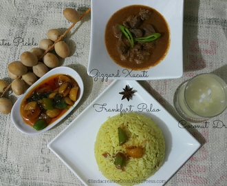 Gizzards Xacuti, Chicken Frankfurt Pulao & Dates Sweet ~ Sour Pickle