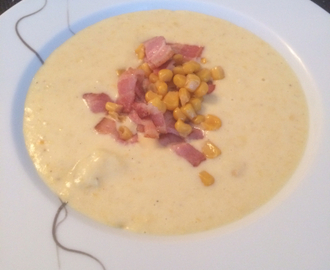 Mais suppe med bacon