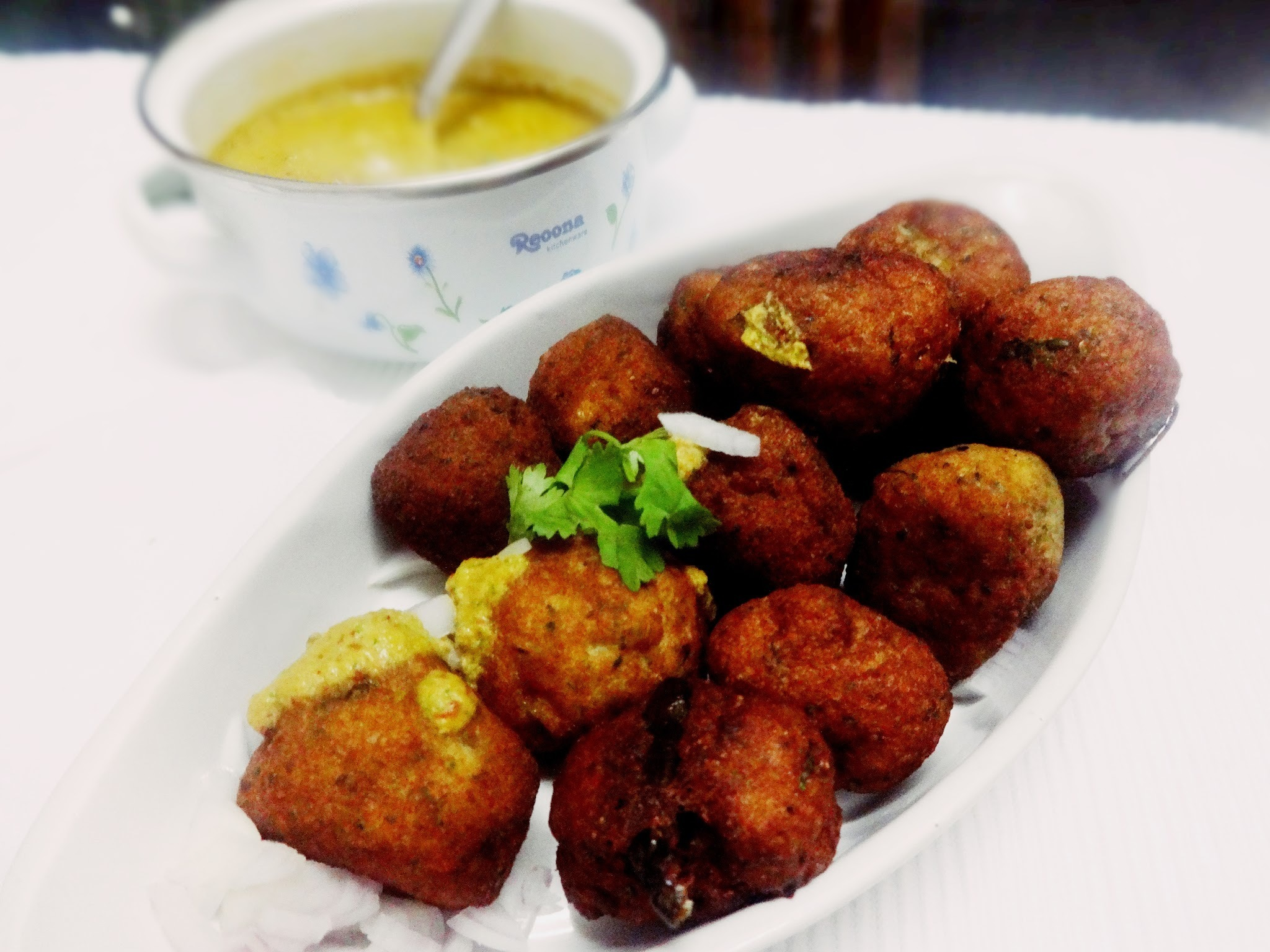Potato Fish balls with spicy peanut sauce