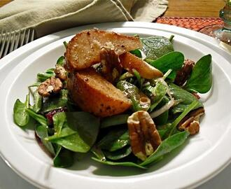 Warm Apple Vinaigrette With a Roasted Pear & Spinach Salad