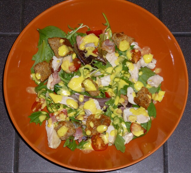 Healthy Chicken Caesar Style Salad with Homemade Croutons Recipe