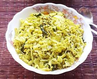 Cabbage with coconut stir fry recipe – Cabbage Senagapappu Vepudu