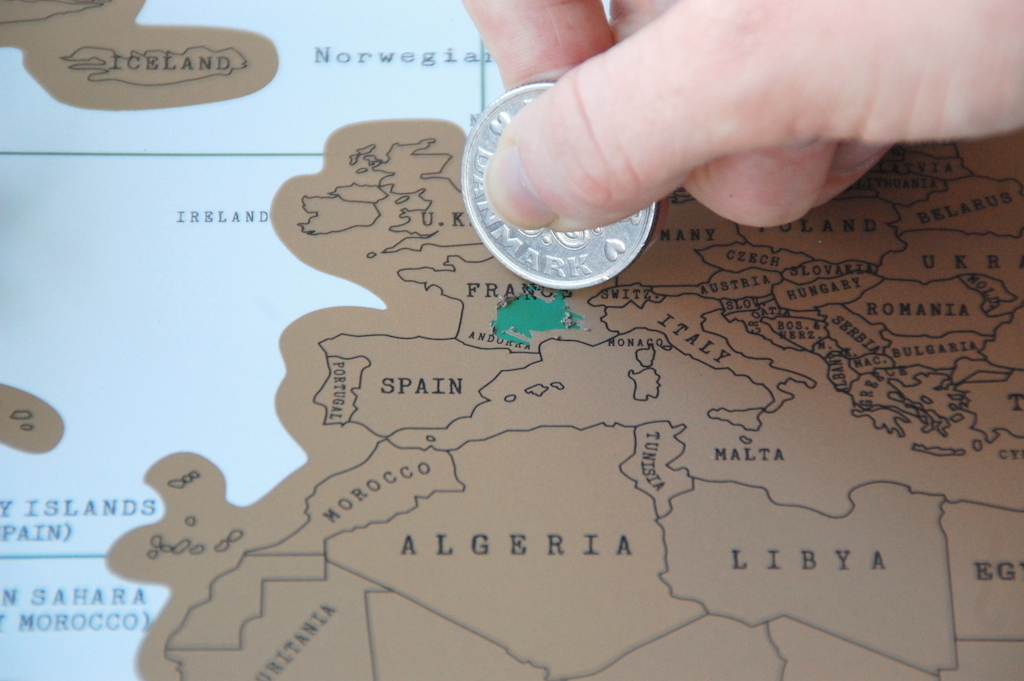 Scratch map fra Aliexpress til 40 kr.