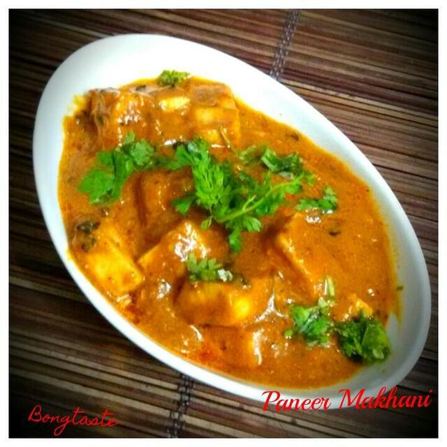 PANEER MAKHANI  (INDIAN COTTAGE CHEESE CUBES  DIPPED IN TOMATO BASED RICH GRAVY )