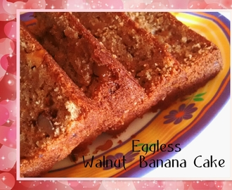 Eggless Walnut Banana Cake ( Using Pressure Cooker )