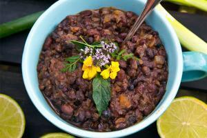 Fried black beans