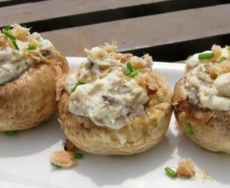 Salmon and Chive Stuffed Mushrooms