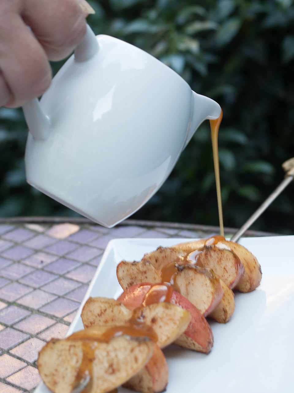 BBQ Apple Skewers with Salted Caramel Sauce