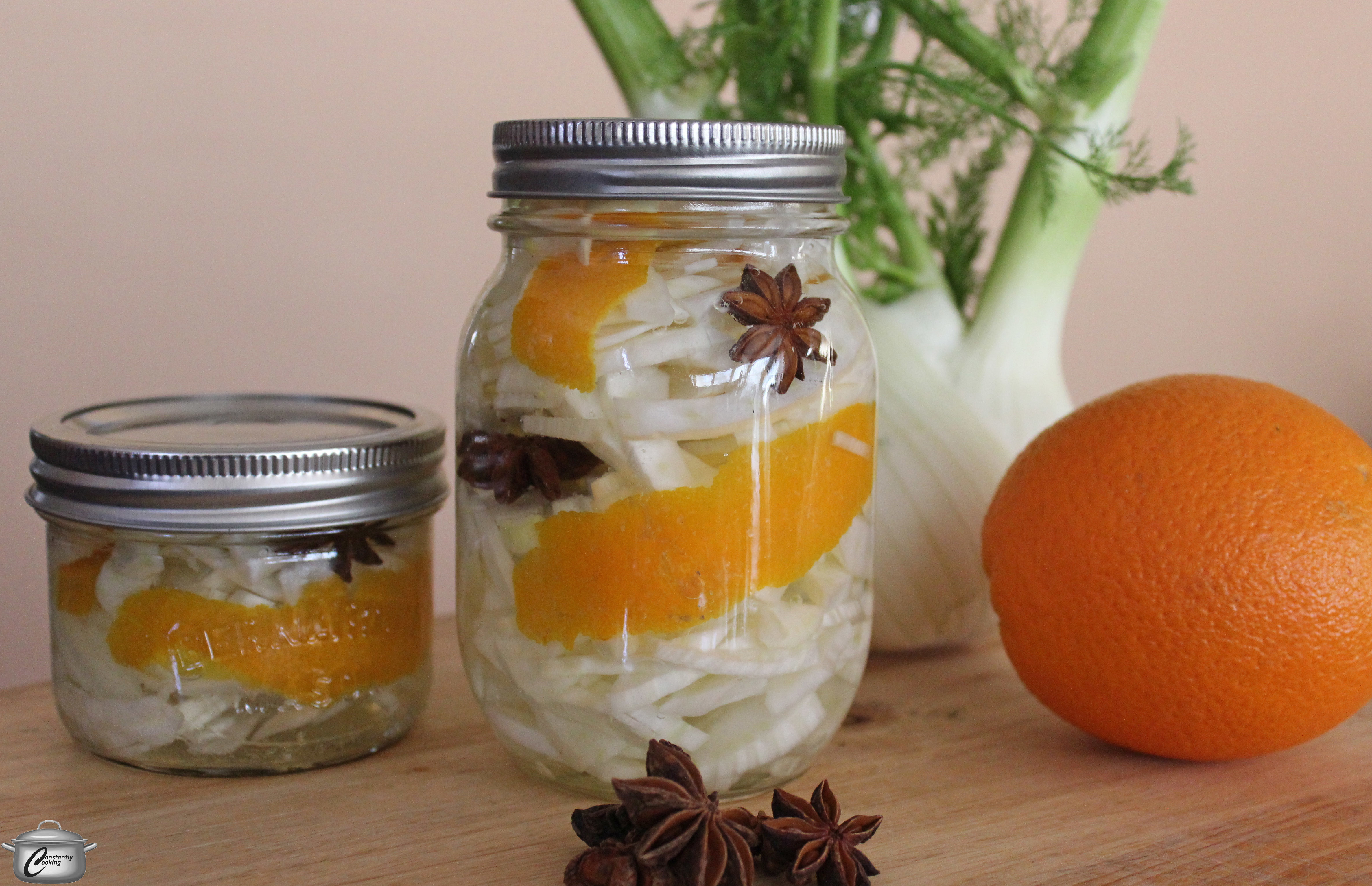 Quick pickled fennel with orange and star anise