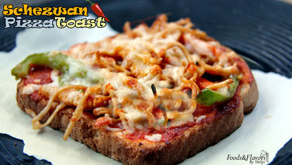 Schezwan Bread Pizza Toast | Schezwan Pizza Toast Recipe | How to Make Schezwan Bread Pizza
