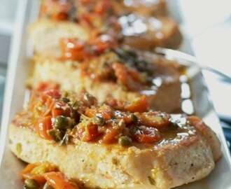 Pan Seared Pork in a White Wine, Tomato & Caper Sauce
