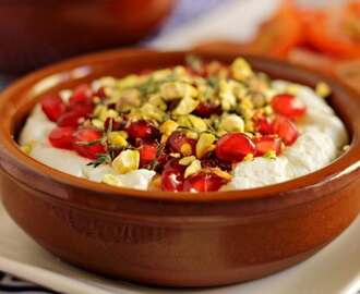 Yogurt Cheese with Pistachios and Pomegranate