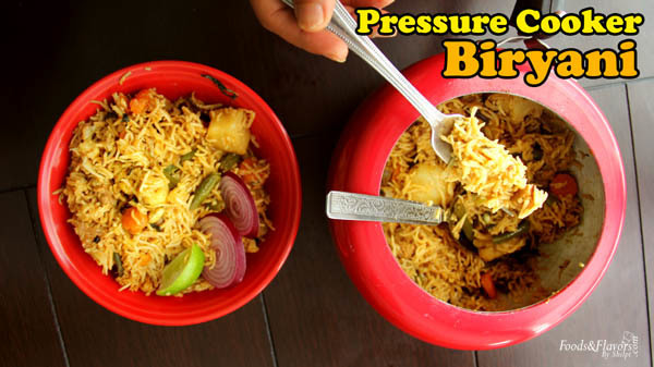 Pressure Cooker Biryani Recipe | Biryani Recipe in Pressure Cooker -Indian Veg Recipes