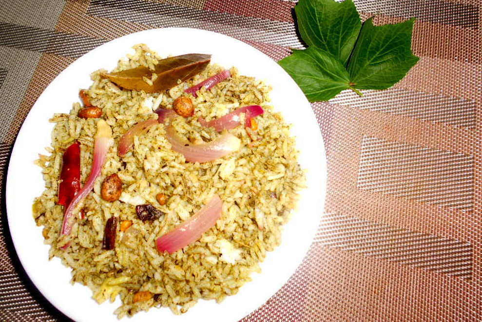 Red Sorrel Leaves Rice / Gongura Annam - One pot meal