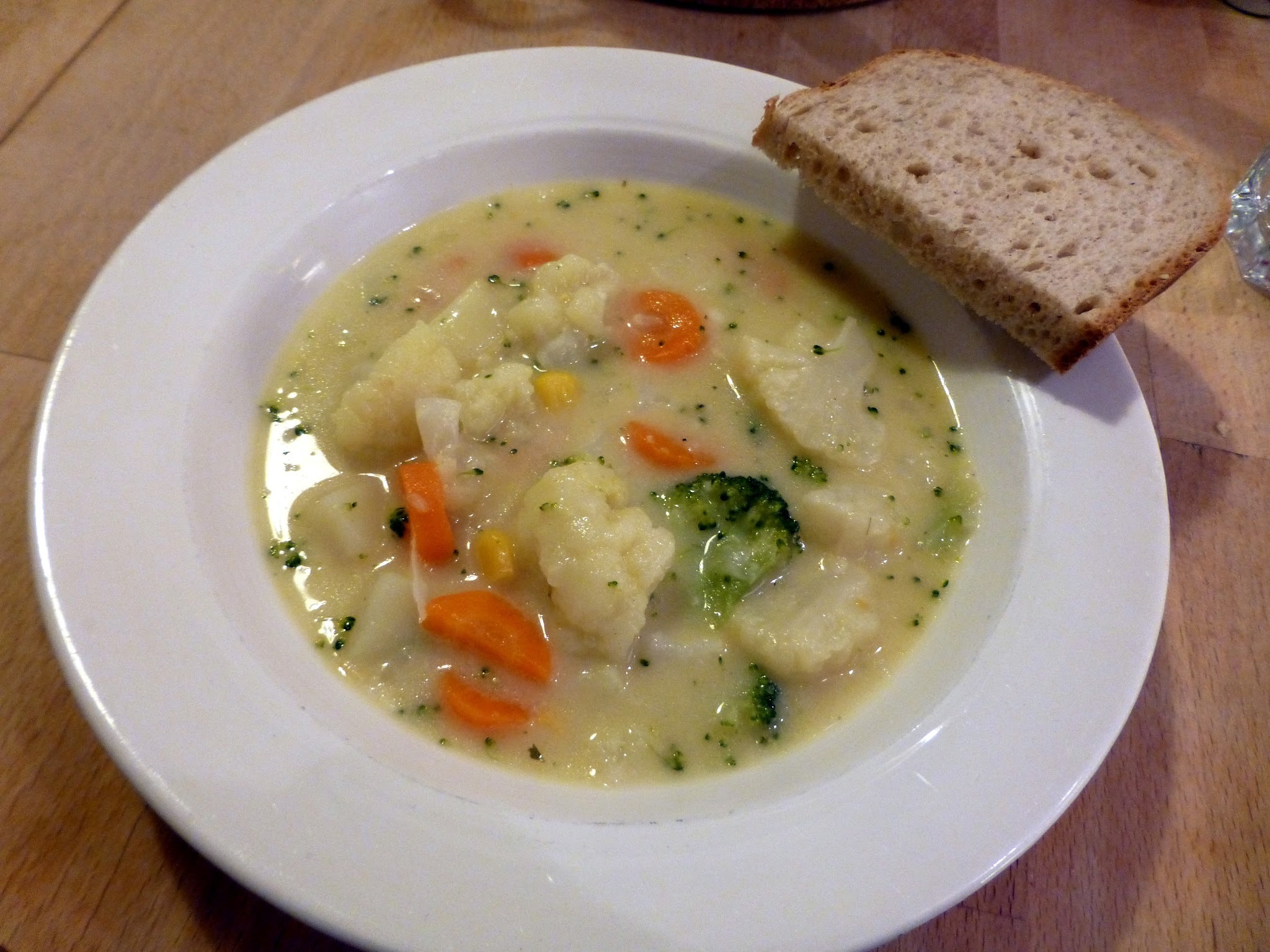 Cheesy vegetable chowder.