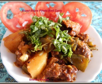 Broad Beans Potato Badi Curry with Trikon Paratha -  Chhattisgarh