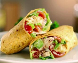 Wrap de Frango com Cream Cheese Light