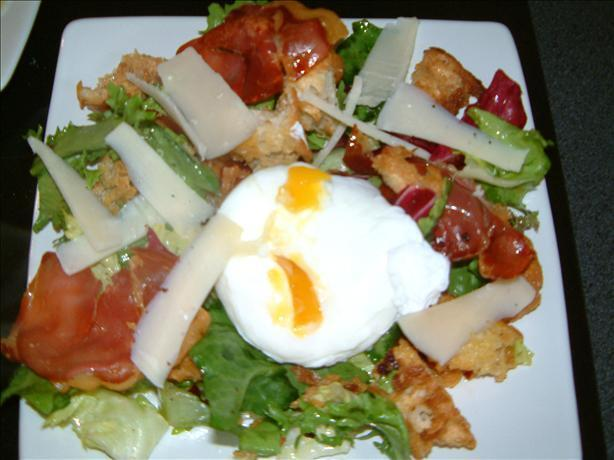 Warm Bread Salad of Crispy Pancetta, Parmesan and Poached Egg