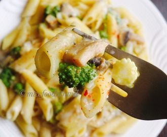 PENNE PASTA IN HEALTHY WHITE SAUCE WITH LEMON BASIL - EAT WITHOUT GUILT