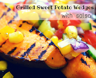 Grilled sweet potato wedges with salsa // Batata doce grelhada com salsa