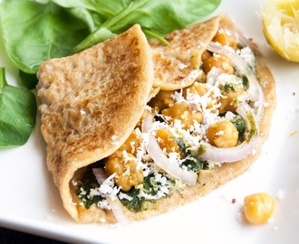 Diabetic Friendly Meal : Whole Wheat Crepes with spinach pesto+curried chickpeas
