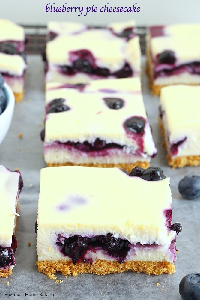 Blueberry pie cheesecake bars